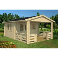 Clifton Log Cabins - INSTALLED 4.7m x 3.2m Budget Apex Log Cabin + Overhang (235) - Double Glazing (40mm Wall Thickness)