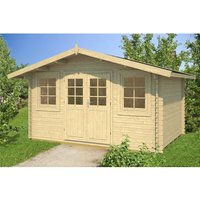 Clifton Log Cabins - INSTALLED 4m x 3m Budget Apex Log Cabin (216) - Single Glazing (28mm Wall Thickness)