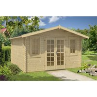 Clifton Log Cabins - INSTALLED 4m x 4m Budget Apex Log Cabin (201) - Double Glazing (40mm Wall Thickness)