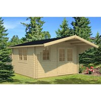 Clifton Log Cabins - INSTALLED 4m x 4m Budget Apex Log Cabin (205) - Double Glazing (40mm Wall Thickness)