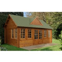 INSTALLED 5.5m x 4.0m Reverse Log Cabin + 8 Windows - 44mm Wall Thickness **Includes Free Shingles** INSTALLATION INCLUDED