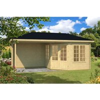 Clifton Log Cabins - INSTALLED 5.8m x 3m Budget Apex Log Cabin + Porch (222) - Double Glazing (40mm Wall Thickness)