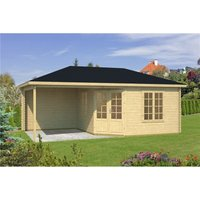 Clifton Log Cabins - INSTALLED 6.8m x 3.8m Budget Apex Log Cabin + Porch (225) - Double Glazing (40mm Wall Thickness)