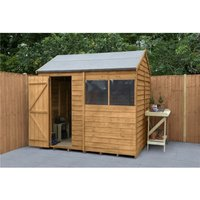 INSTALLED 6ft x 8ft Reverse Apex Overlap Dip Treated Shed (1.9m x 2.4m) - Modular - INCLUDES INSTALLATION - CORE - WORCESTER OVERLAP