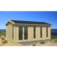 INSTALLED 6m x 3m Budget Apex Log Cabin (217) - Double Glazing (40mm Wall Thickness) - CLIFTON LOG CABINS