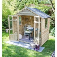 Worcester Summerhouses - INSTALLED 7 x 5 Pressure Treated Overlap Summerhouse (219cm x 146cm) INSTALLATION INCLUDED (CORE)