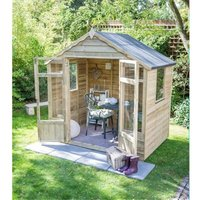 Worcester Summerhouses - INSTALLED 8 x 6 Pressure Treated Overlap Summerhouse (258cm x 193cm) INSTALLATION INCLUDED (CORE)