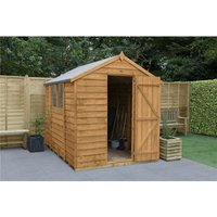 INSTALLED 8ft x 6ft Overlap Apex Wooden Garden Shed With Single Door + 2 Windows (2.4m x 1.9m) - Modular - INCLUDES INSTALLATION - CORE - WORCESTER