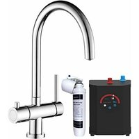 Sauber - Instant Boiling Water Kitchen Tap 3 in 1 Hot/Cold Water Filter and Tank Twin Lever