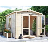 Dunster House Ltd. - Insulated Garden Log Cabin WarmaLog Avon 3m x 3m Warm Man Cave Home Office Summer House Double Glazing Toughened Glass