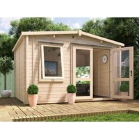 Dunster House Ltd. - Insulated Garden Log Cabin WarmaLog Rhine 4m x 3m Warm Man Cave Home Office Summer House Double Glazing Toughened Glass
