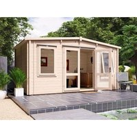 Dunster House Ltd. - Insulated Garden Log Cabin WarmaLog Severn 5m x 3m Man Cave Home Office Summer House Double Glazing Toughened Glass