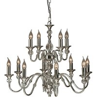 Interiors 1900 Lighting - Interiors - 12 Light Chandelier Polished Nickel Plate and Crystal Finish, E14