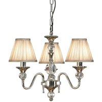 Interiors Polina Nickel - 3 Light Multi Arm Ceiling Pendant Chandelier Polished Nickel, E14 - INTERIORS 1900 LIGHTING