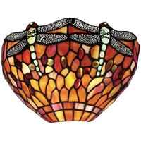 Interiors Dragonfly Flame - 1 Light Indoor Dragonfly Tiffany Wall Uplighter Dark Bronze, Red, E14 - INTERIORS 1900 LIGHTING