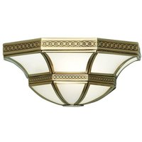 Interiors 190002W - 1 Light Indoor Wall Uplighter Antique Brass with Frosted Glass, E14 - INTERIORS 1900 LIGHTING