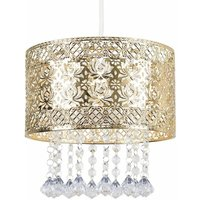 Intricate Pattern Gold Ceiling Pendant Light Shade With Jewe