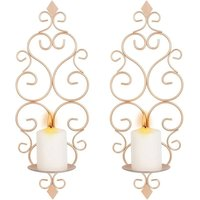 Iron Wall Candle Sconce Holder Set of 2 Hanging Wall Mounted Pillar Candle Sconces Holder, Wall Sconces Decor for Bedroom Dining Room Living Room