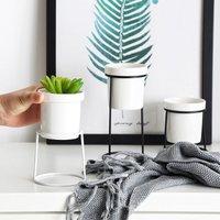 Iron Wire Metal Rack Ceramic Flower Pot Plant Display Stand Holder, Small Black - LIVINGANDHOME