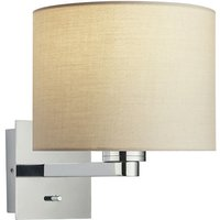 Endon Lighting - Wall Lamp Chrome Plate, Taupe Fabric Round Shade With Usb Socket