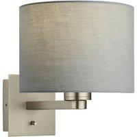 Endon Lighting - Wall Lamp Matt Nickel Plate, Grey Fabric Round Shade With Usb Socket