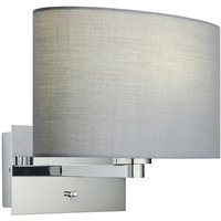 Endon Lighting - Wall Lamp Chrome Plate, Grey Fabric Oval Shade With Usb Socket