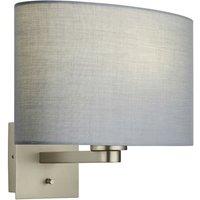 Endon Lighting - Wall Lamp Matt Nickel Plate, Grey Fabric Oval Shade With Usb Socket