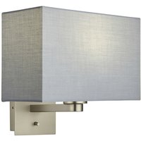Endon Lighting - Wall Lamp Matt Nickel Plate, Grey Fabric Rectangular Shade With Usb Socket