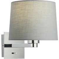 Endon Lighting - Wall Lamp Chrome Plate, Grey Fabric Round Shade With Usb Socket