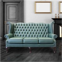 Designer Sofas 4 U - Jade Green Leather Chesterfield 3 Seater High Back Wing sofa | DesignerSofas4U