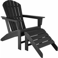 Garden chair Janis with footstool Joplin - sun lounger, garden lounger, plastic garden chair - black