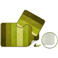 Jersey Striped Bath Mat Pedestal Set Bathroom - Green - S.GREEN