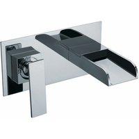 JTP Cascata 2-Hole Basin Mixer Tap Wall Mounted Chrome - JUST TAPS PLUS