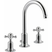 JTP Grosvenor 3-Hole Basin Mixer Tap Cross Handle - Chrome - JUST TAPS PLUS