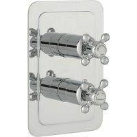 JTP Grosvenor Cross Vertical Thermostatic Concealed 2 Outlets Shower Valve Dual Handle - Chrome - JUST TAPS PLUS