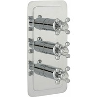 JTP Grosvenor Cross Vertical Thermostatic Concealed 3 Outlets Shower Valve - Chrome
