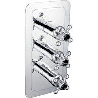 JTP Grosvenor Cross Vertical Thermostatic Concealed 3 Outlets Shower Valve - Chrome/Black