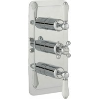 Just Taps Plus - JTP Grosvenor Lever Vertical Thermostatic Concealed 2 Outlets Shower Valve Triple Handle - Chrome