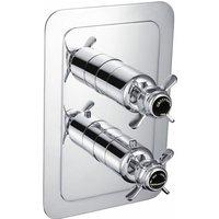 Just Taps Plus - JTP Grosvenor Pinch Vertical Thermostatic Concealed 2 Outlets Shower Valve Dual Handle - Chrome/Black