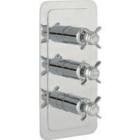 JTP Grosvenor Pinch Vertical Thermostatic Concealed 2 Outlets Shower Valve Triple Handle - Chrome