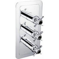 JTP Grosvenor Pinch Vertical Thermostatic Concealed 2 Outlets Shower Valve Triple Handle - Chrome/Black - JUST TAPS PLUS