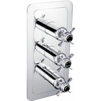 JTP Grosvenor Pinch Vertical Thermostatic Concealed 3 Outlets Shower Valve - Chrome/Black