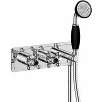 JTP Grosvenor Thermostatic Concealed Shower Valve Dual Cross Handle with Handset - Chrome/Black