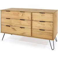 Netfurniture - June 3+3 drawer wide chest of drawers Brown pine