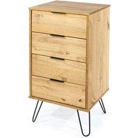 Netfurniture - June 4 drawer narrow chest of drawers Brown pine