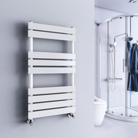 Juva 950 x 500mm White Flat Panel Heated Towel Rail - WARMEHAUS