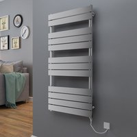 Juva 1200 x 600 mm Chrome 500 w Electric Flat Panel Heated Towel Rail - please select - please select - WARMEHAUS