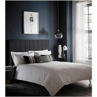 Pleat Detail White Super King Size Duvet Cover Set Bedding - Karen Millen
