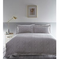 Karen Millen Snakeskin Jacquard Double Duvet Set Dove Grey - CLARKE and CLARKE