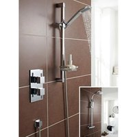 Kartell Uk - Kartell Pure Thermostatic Concealed Mixer Shower With Adjustable Slide Rail Kit And Overhead Drencher